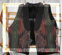 Vintage Southwest Aztec Design Vest With suede by justjunkin2, $25.00
