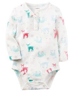 Baby Girl Deer Print Henley Bodysuit | Carters.com