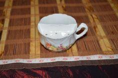 """Vintage Porcelain Floral Tea Cup w/Tea Bag Holder/Strainer 4 1/4""""x2 3/8"""" #TeaCup #Unknown"""