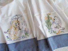 Tea Towels 2 Flour sack Vintage Style Bird Embroidery Spring