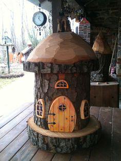 My dad made this incredible house! Tree house, log, fairy house, yard, backyard, DIY, gnome house