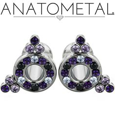 2ga Cluster Eyelets in ASTM F-136 titanium with Lavender CZ, Black CZ, synthetic Amethyst, and genuine Passion Topaz gemstones in Violac