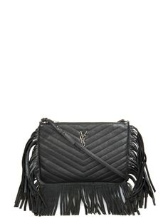 Saint Laurent Monogram fringed quilted-leather cross-body bag
