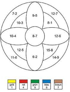 Rechenmandala Minusaufgaben und Mathe Übungsaufgaben 1. Klasse