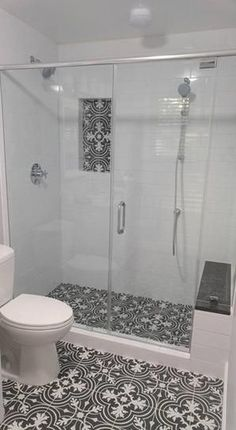 Looks like my bathroom, except the Merola Tile is on the wall of my stand-up shower 🚿. Love love love 💕 Merola Tile Twenties Classic in. Ceramic Floor and Wall Tile at The Home Depot - Mobile Bathroom Tile Designs, Bathroom Design Small, Bathroom Layout, Bathroom Interior Design, Bathroom Ideas, Bathroom Organization, Shower Ideas, Shower Designs, Bathroom Plants