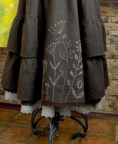 Купить Юбка Бохо льняная длинная с ручной вышивкой(продано) - юбка льняная коричневая