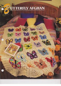 Butterfly Afghan Crochet Afghan Pattern Annies Attic Quilt & Afghan Club #AnniesAttic