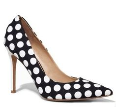 POLKA DOTS LOOK GREAT ON TOPS, DRESSES AND SKIRTS. SHOES ARE NO EXCEPTION. THIS PAIR HAS A RETRO FEEL AND WOULD PAIR WELL WITH BLACK AND WHITE PRINT MIXING, OR A BRIGHT RED OR COBALT DRESS  FROM $88.00