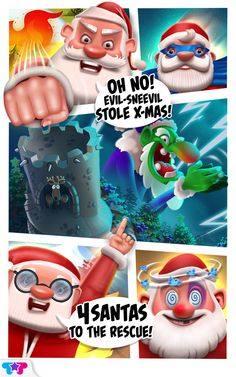 OH NO! Evil-Sneevil has stolen Xmas, causing a MEGA holiday crisis! Can you help the 4 Santas defeat Evil Sneevil and restore the most wonderful time of the year?! Overcome CRAZY Xmas challenges with Clumsy Santa, Fancy Santa, Curious Santa and Super Santa! Each Santa brings his own unique characteristics and helps the other Santas to complete their missions. Fun Games, Awesome Games, Christmas Apps, Xmas, Holiday Games, Can You Help, Party Service, Free To Play, Game Item