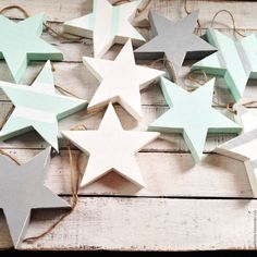 Купить Гирлянда из деревянных звездочек 10 шт. - комбинированный, гирлянда, звезды, звездочки, звезда