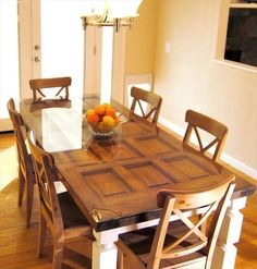 How to Make a Dining Table out of a old Door | Do It Yourself I want THIS but with possible black legs