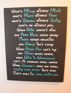 This is so cute.I love Disney so without it I don't know what I'll do Citations Disney, Disney Rooms, Disney Home Decor, Disney Crafts, Cute Relationships, Disney Love, Disney Stuff, Things That Bounce, Inspirational Quotes