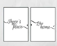 Set of 2 prints 2 SIZES Black and White. There's no place like home. Printable quotes. Printable wall art. Printable quotes home. Quotes by CreatedCreationsCC on Etsy https://www.etsy.com/au/listing/588175904/set-of-2-prints-2-sizes-black-and-white