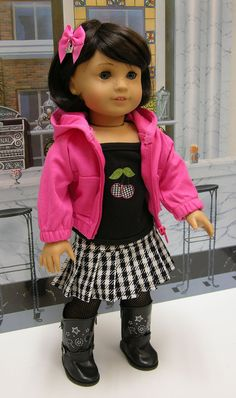 Sassy Cherry - Punk style outfit for American Girl doll. $45.00, via Etsy.