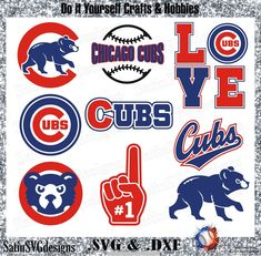 Chicago Cubs Baseball Set Design SVG Files, Cricut, Silhouette Studio, Digital C. Chicago Cubs Shirts, Chicago Cubs Baseball, Chicago Cubs Logo, Football Soccer, Chicago Chicago, Basketball, Design Set, Cubs Tattoo, Cubs Games