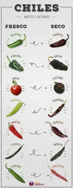 Tipos de chile. Antes y después.