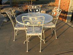 Vintage 5 Piece Patio Set Wrought Iron Round Glass Top