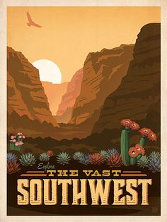 Macy's Flower Show: Southwest - This classic print is part of a series of posters called America the Beautiful. Six different regional designs were created for the 2016 Macy's Flower Show. Printed on gallery-grade matte-finished paper, this lovely Southwest print will add an adventurous touch of floral beauty to any home or office wall.