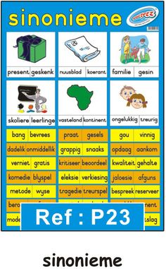 """Sinonieme"" opvoedkundige plakkaat / muurkaart in Afrikaans - Educational Toys Online 1st Grade Worksheets, Preschool Worksheets, Afrikaans Language, Free Preschool, Teaching Aids, Toys Online, Educational Toys, Kids Learning, Homeschool"