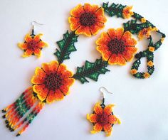 Huichol Beaded Flower Necklace and Earring set by Aramara on Etsy