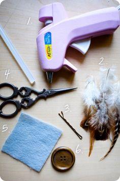 DIY feather embellished bobby pin    http://elisamclaughlin.com/design/2011/06/diy-bohemian-chi-hair-pin/
