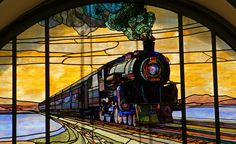 Train stained-glass In the old Union Pacific station, downtown Salt Lake City, Utah. Photo by frontpage251