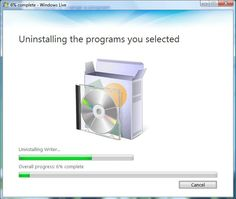 UNINSTALLING is the process of REMOVING PROGRAMS AND ALL ASSOCIATED FILES FROM THE HARD DISK