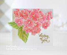 HYDRANGEA SPRING FLOWER PINK FLORAL BOTANICAL EMBOSSED GERMAN PAPER SCRAP CARD
