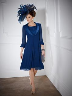 New Fashion A Line 3/4 Sleeve Knee Length Sequin Chiffon Mother Of The Bride Dress with Jacket US $109.99
