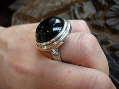 Sterling silver stone ring with round onyx stone