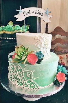Henna Wedding Cake, Mini Wedding Cakes, Indian Wedding Cakes, Creative Wedding Cakes, Beautiful Cake Designs, Beautiful Cakes, Amazing Cakes, Henna Cake Designs, Buttercream Designs
