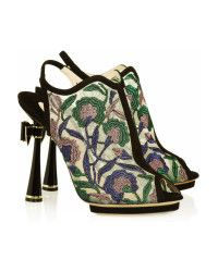 Nicholas kirkwood Faux Leather and Wooden Mules in Black (floral) | Lyst