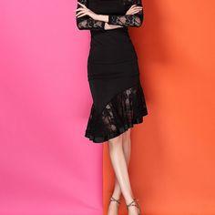 Latin salsa tango rumba Cha cha Ballroom Dance Dress #XM162 Skirt Black in Clothing, Shoes & Accessories | eBay
