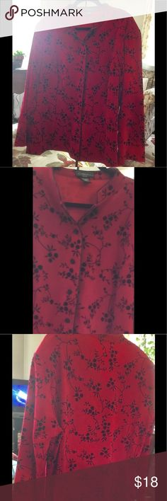 Beautiful long sleeve shirt I never got to wear this.  The detailing feels like velvet.  The material is medium weight.  Polyester/spandex. Kind of has a mandarin look. Excellent condition. No stains. No rips. Elementz Tops Button Down Shirts