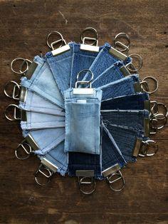 Reclaimed+Denim+Chapstick+Holder+Key+Fob+Light+Blue+by+GaussHaus