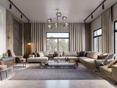 SHADES OF BEIGE on Behance Beige Living Rooms, Living Room Decor, Modern Tv Room, Beige Couch, Shades Of Beige, 3ds Max, Floor Design, Luxury Living, Modern Luxury