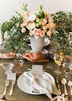 Blush and gray place setting with white calligraphy menu card  Emilia Jane Photography