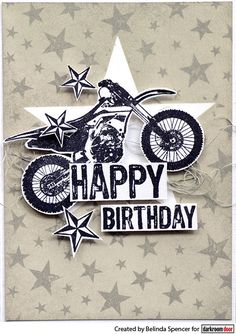 Card by Belinda Spencer using Starry Night Background Stamp, Star Stencil Set, Dirt Bike Eclectic Stamp, Stars and Happy Birthday Stamp Sets Star Stencil, Stencils, Starry Night Background, Dirt Bike Birthday, Birthday Cards, Happy Birthday, Stamps, Stamp Sets, Creative