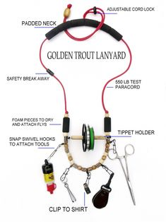 Delta-Pro Fishing 5 Tool Lanyard//Necklace Neck Strap With Tippet Holder