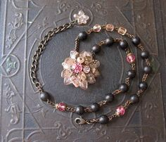 Sparkly Pink Vintage Assemblage Necklace with Repurposed Rhinestone Cluster Earring / Summer Jewelry / OOAK