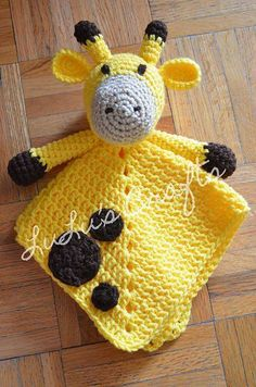 Crochet Amigurumi Ideas Ravelry: Giraffe Lovey pattern by Kelsey Bieker - Cute Crochet, Crochet Crafts, Crochet Dolls, Knit Crochet, Simple Crochet, Diy Crafts, Crochet Baby Toys, Crochet Security Blanket, Baby Blanket Crochet