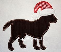 Santa Dog Applique - 3 Sizes! | Tags | Machine Embroidery Designs | SWAKembroidery.com Applique Cafe
