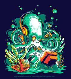 Octopus the Gamer by Angga Tantama, via Behance