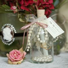 message in a bottle of pearls wedding favour decorated with lace, pearls and ribbon {colour of your choice} the bottle is also filled with ivory pearls for a sophisticated look. Wedding Invitations Online, Vintage Wedding Invitations, Wedding Stationery, Wedding Bottles, Wedding Favours, Dusky Pink Weddings, Altered Bottles, Message In A Bottle, Ribbon Colors