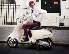 Jo Malone Advent Calendar with a hot guy Vespa delivery! Vespa Lambretta, Vespa Scooters, Scooter Scooter, Jo Malone Advent Calendar, Scooter Drawing, Dirt Bike Girl, Girl Motorcycle, Motorcycle Quotes, Scooter Storage