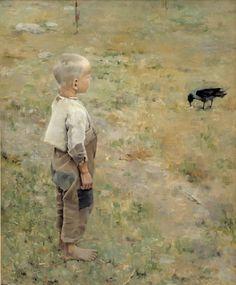 "Akseli Gallen-Kallela - ""Niño con cuervo"" (1884, óleo sobre lienzo, 80 x 72 cm, Ateneum, Helsinki)"