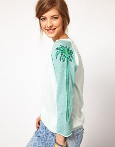 Maison Scotch | Maison Scotch Jumper with Palm Tree Sleeves at ASOS