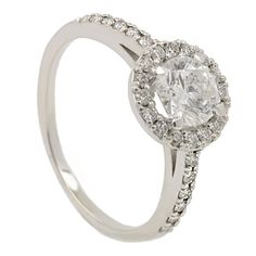 Real 14k White Gold Round Diamond Engagement Halo Ring 1.20 TCW D SI #DiamondsCollection #SolitairewithAccents