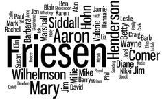 Friesen Family Reunion 2012: Family Reunion T-Shirt Wordle; I love wordle stuff.