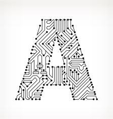 Letter A, Circuit Board on White Background vector art illustration